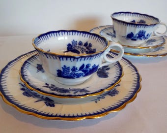 Victorian Copeland Spode Teacup and Saucer And Cake Plate With Blue And White Flowers. Copelands China Tea Cup Trio. Pretty Antique Teacup