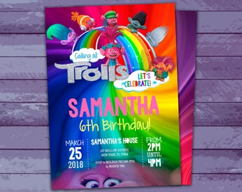Trolls Party Invitations Instant Download Editable File, Trolls Birthday, Trolls Themed Party, Personalize at home Now with Adobe Reader!