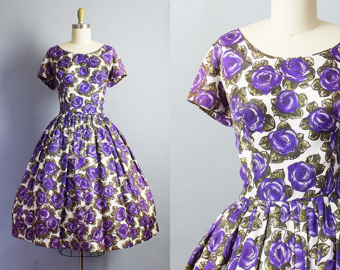 1950s Purple Rose Print Dress/ Medium (40B/30W)