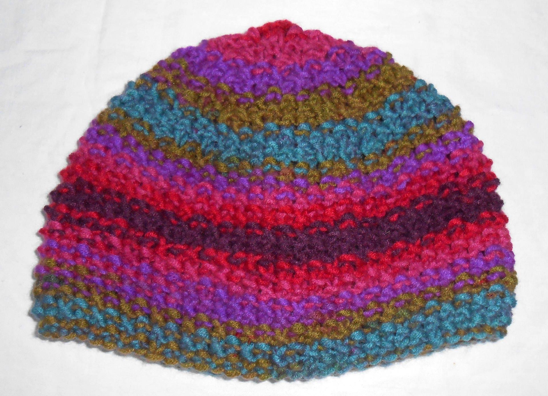 bonnet fillette en laine multicolore tricot main. Black Bedroom Furniture Sets. Home Design Ideas