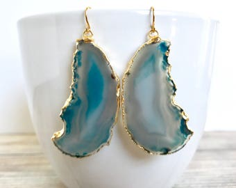 Agate Slice Earrings - Teal Agate Jewelry - Blue Geode Slice Earrings  - Agate Jewelry - Boho Jewelry Fall Earrings