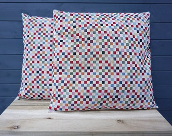 Decorative Colourful Checkered Print Cushion Cover with Invisible Zipper