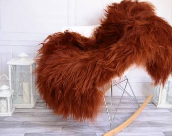 Copper Icelandic Sheepskin Rug | Sheepskin throw | Chair Cover |Super Soft Rug | Scandinavian Style | Scandinavian Rug