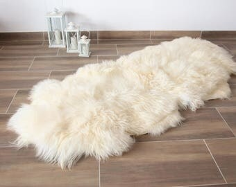 Genuine Double Sheepskin Rug Creamy White Large Sheepskin Rug Christmas Home Decor