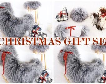 CHRISTMAS GIFT SET - Icelandic Sheepskin Rug, Icelandic Sheepskin Gift Set, Sheepskin Stool cover, Sheepskin Pillow, Woolen Slippers