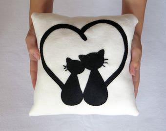 Coussin chat, st valentin, cadeaux pour anniversaire de mariage, saint valentin, cadeaux pour les femmes, cadeau mariage, chat oreiller