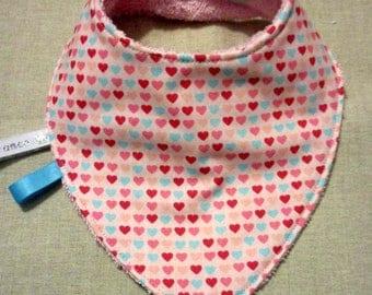 Cotton bandana bib fancy hearts double Terry