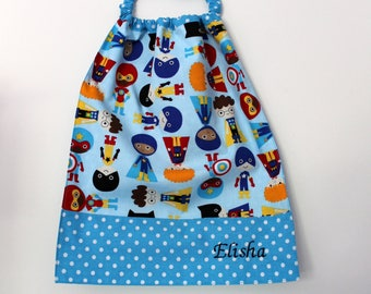 Birthday, canteen * bib/napkin, canteen, with elastic at the neck - cotton super hero to order