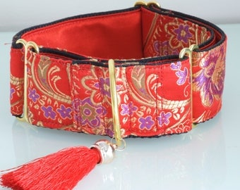 CHINA DOLL  - Red Silk Martingale Dog Collar with Red Silk Tassel for Large Sight Hound for Chinese New Year