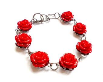 Vintage Rose Link Bracelet - Red Roses - Flower Cabochon - Silver Tone Metal - Toggle Clasp - Kentucky Derby - Red Queen - Valentines Day