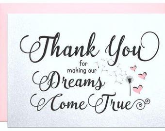 Thank You Card For Caterer Wedding Planner Singer Florist DJ