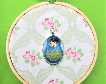 Handmade cross stitch necklace matroeska