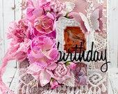 Shabby Chic Mixed Media Layered Birthday Greeting Card