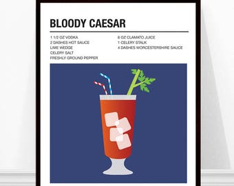 Bloody Caesar Cocktail Print, Cocktail Recipe Art, Alcohol Print, Bloody Caesar Recipe