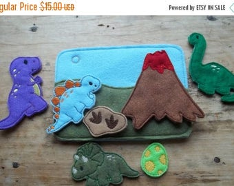 ON SALE Dinosaur Quiet  Busy Book Add On Page :  Busy Book. Dinosaur.Prehistoric.  Pretend Play.