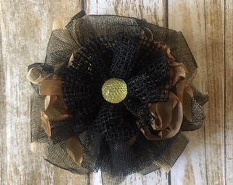 Black net fabric bow/fabric bow/black and beige bow/bow clip/gifts for her/under 10