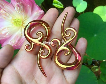 "Real 24 Karat Ruby Gold Colored Glass Bonita Spirals 10g 8g 6g 4g 2g 0g 00g 7/16"" 1/2"" 9/16"" 5/8""  2.5 mm 3 mm 4 mm 5 mm 6 mm 8 mm - 16 mm"