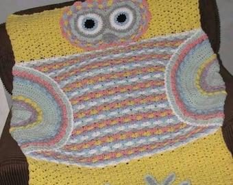 Crochet Owl Baby Blanket / Crochet Owl Baby Afghan / Baby Owl Blanket / Baby Owl Afghan / Yellow Baby Blanket / Yellow Owl Baby Blanket