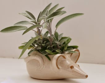 David Stewart Lions Valley  Mouse Planter Ceramic Rat  Art Pottery