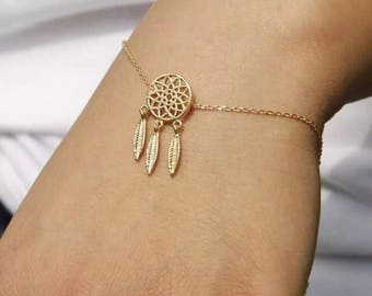 Boho Gold Feather Tassel Chain Link Dream Catcher Bracelet