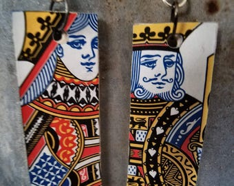 Handmade King and Queen Playing Card Dangling Wood Earrings