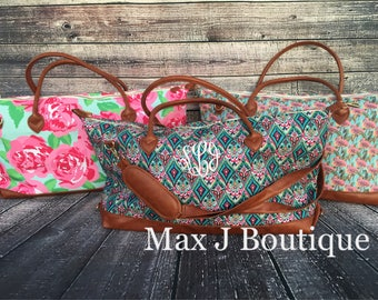 Lilly Pulitzer inspired carry all bag - monogrammed duffle - personalized overnight bag- weekender bag