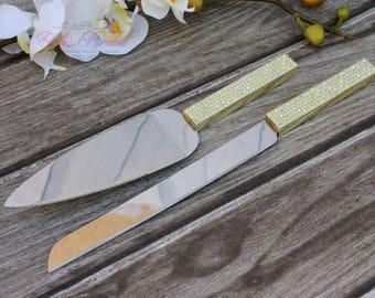 FAST SHIPPING!! Gold Swarovski Crystal Cake Knife and Server Set, Wedding Cake Server and Knife, Gold Cake Server and Knife
