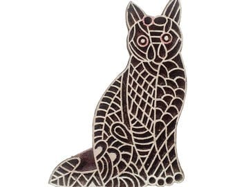 Cat hand carved Stamp Indian Wood Stamp Wood Block Stamp