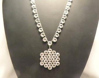 Vintage Bezel Set Rock Crystal Pendant Necklace