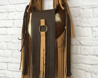 Genuine Leather Cowhide Cowgirl fringe bag