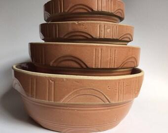 Watt Pottery Arches nesting mixing bowls 8 7 6 5 Pumpkin Glaze