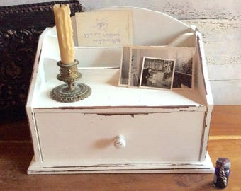 White Distressed Desk Organizer with One Drawer and 2 Mail Pockets Wooden Shabby Cottage Chic Desk Box Faux Painted Desk Top Home Office