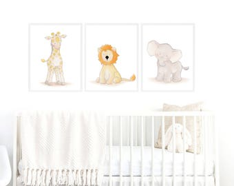 Safari Nursery Art Set,Safari Nursery Decor,Animal Set Nursery,Animal Nursery Decor,Safari Baby Nursery,Safari Boys Room,Safari Girls Room