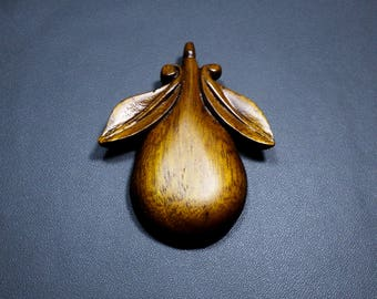 Wooden Pendant Wood Carving Pear with 2 Leaves Fashion Accessories Honey Brown Antique Silky Finish