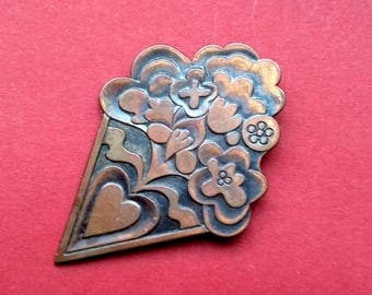 Flower Copper Brooch. Vintage collectible soviet pin badge, Made in USSR, 1970s