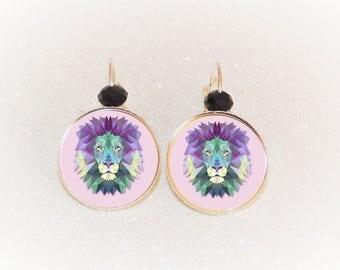 Earrings sleepers silver cabochon purple geometric lioness