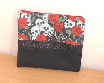 Case/pouch bag black skull Mexican calavera red flowers, black sequins