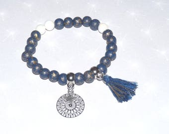 Blue and white beaded bracelet, filigree rose, Star and tassel