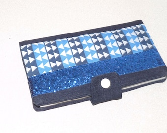 Checkbook holder denim/cotton geometric triangles, band blue glitter
