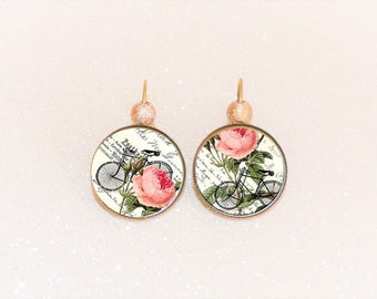 Earrings sleepers bronze cabochon vintage style shabby rose