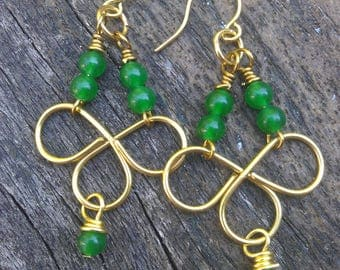 Gold chandelier earrings, wire wrapped earrings, brass chandelier earrings, green jade earrings, gold jade earrings