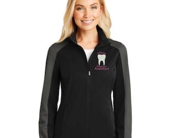 Dental Assistant Full Zip Jacket. Dental Hygienist Zip Up Jacket. EFDA Jacket. RDA Jacket. Ladies Active Colorblock Soft Shell Jacket. L718