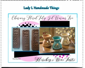 Charming Spring Floral Tulip Oil Warmer Trio with Hershey Bar Wax Melt, Chocolate Candle Tart, Candle Melt, Hershey Chocolate  for Trio
