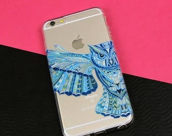 20% SALE iPhone 6 case Geometric Owl iPhone Case, Animal Lover, Clear Plastic Case, Bird, Cool Design, Tribal Phone Case, Soft Cover, Horned
