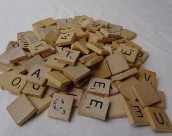 Wooden Tiles, Scrabble Tiles, Wooden Alphabet Letters, Craft Tiles,
