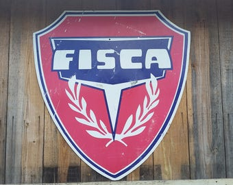 Rare Large Vintage 48 x 41 Fiska Gas Station Die-Cut Shield Sign