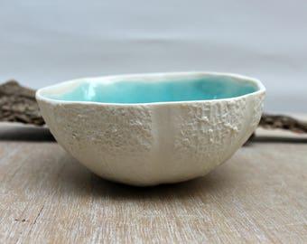 Turquoise bowl, porcelain bowl, ceramic bowl, turquoise white bowl, porcelain vessel, texture ceramic, minimalist pottery, unique gifts