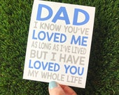 Father's Day Card for Dad / Cute Fathers Day Card / I love you Dad / Fathers Day card daughter / Fathers Day card son / card dad wedding day