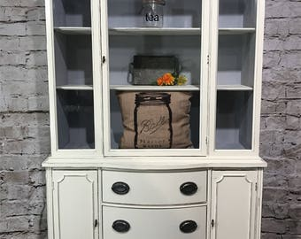 soldvintage antique white china cabinet hutch
