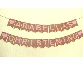 Christening Bunting Banner.  100 easy to choose PERSONALISED style & colour options.